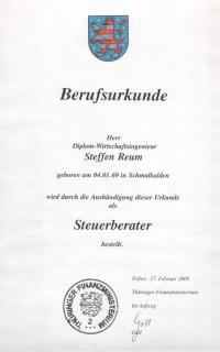 Berufsurkunde Steffen Reum